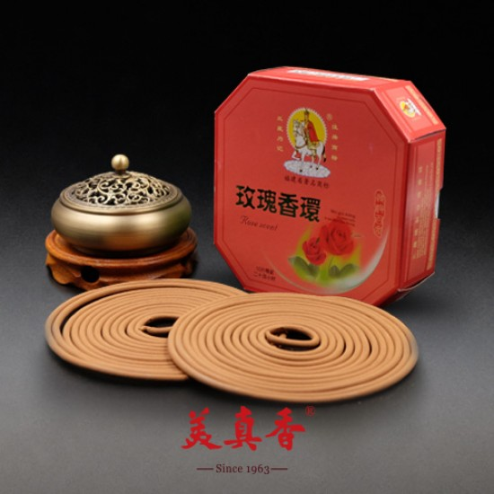 Bee Chin Heong Rose Incense Coil | 24 H | Qty: 10 | Special Package
