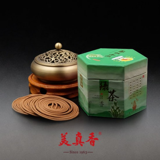 Bee Chin Heong Green Tea Incense Coil   4 H   Qty: 48