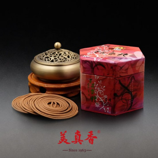 Bee Chin Heong Flower Blossoms Incense Coil | 4 H | Qty: 48