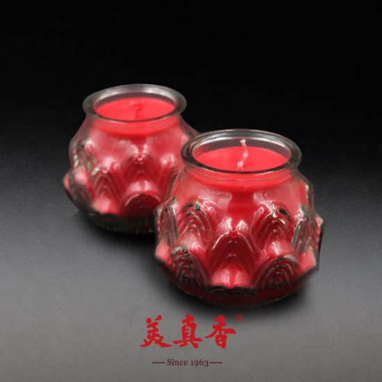 Bee Chin Heong 3D Medium Lotus Wax Candle | Red | Double Pack