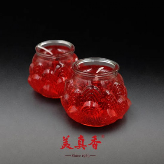 Bee Chin Heong 3D Medium Lotus Crystal Candle   Red   Double Pack