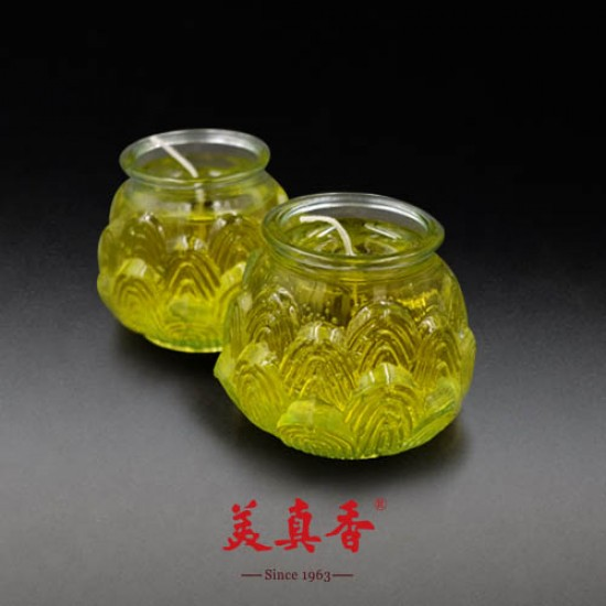 Bee Chin Heong 3D Medium Lotus Crystal Candle   Yellow   Double Pack