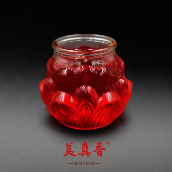 Bee Chin Heong 3D Large Lotus Crystal Candle   Red   Single Pack