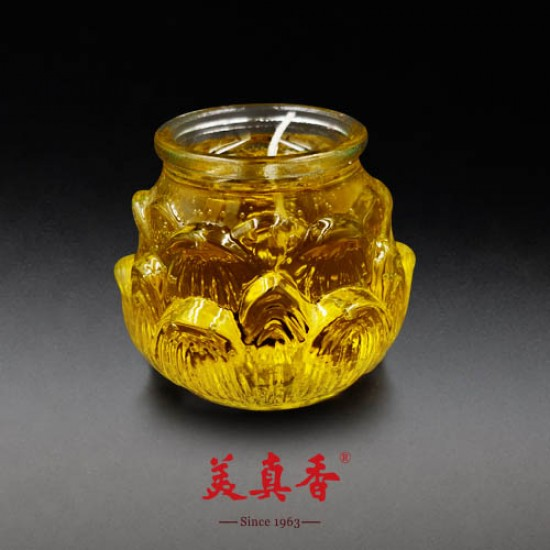 Bee Chin Heong 3D Large Lotus Crystal Candle   Yellow   Single Pack