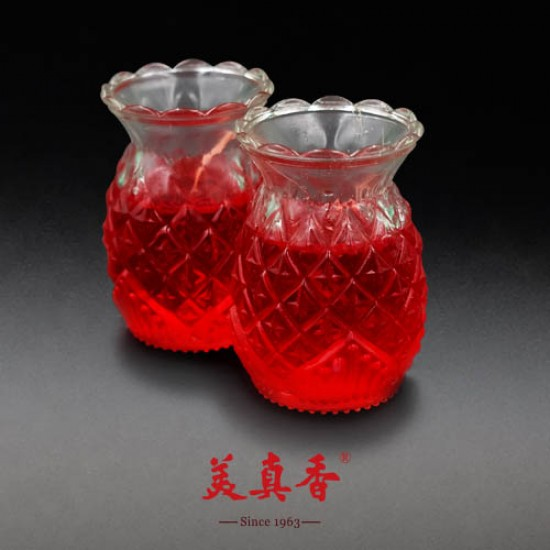 Bee Chin Heong No.5 Pineapple Crystal Candle   Red   Double Pack