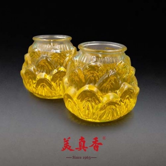 Bee Chin Heong No.1 3D Lotus Crystal Candle | Yellow | Double Pack