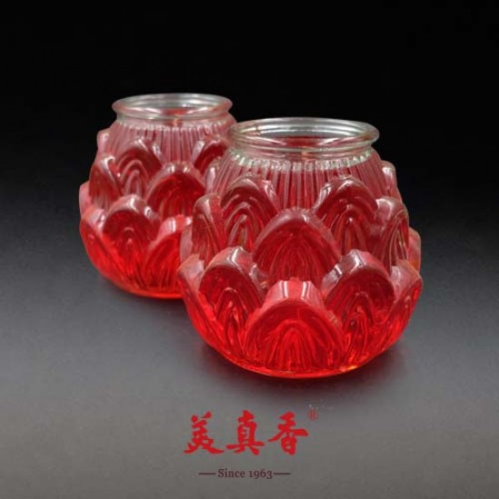 Bee Chin Heong No.1 3D Lotus Crystal Candle | Red | Double Pack