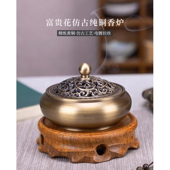 Floral Antique Copper Incense Burner with Wooden Mat
